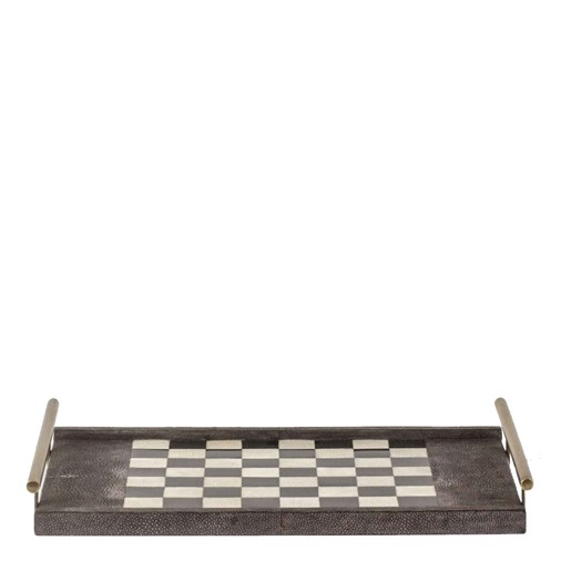 Chess-Checkers Game Tray (Charcoal Shagreen)