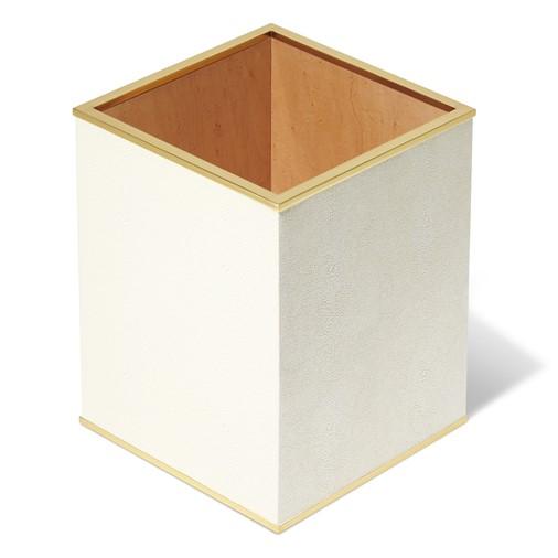 Classic Shagreen Wastebasket (Cream)