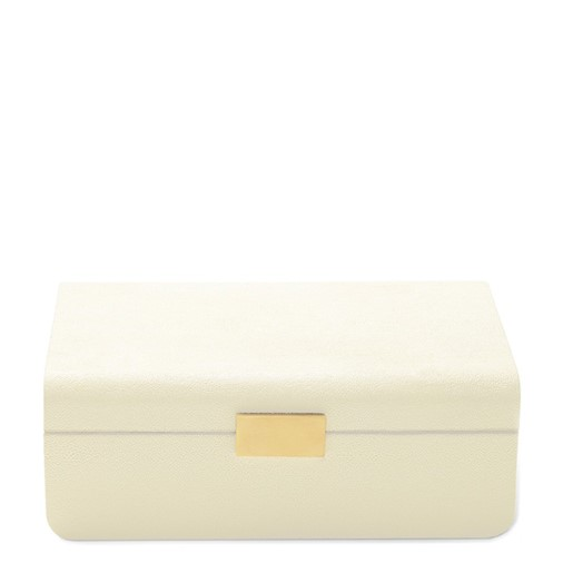Modern Shagreen Large Jewelry Box (Cream)