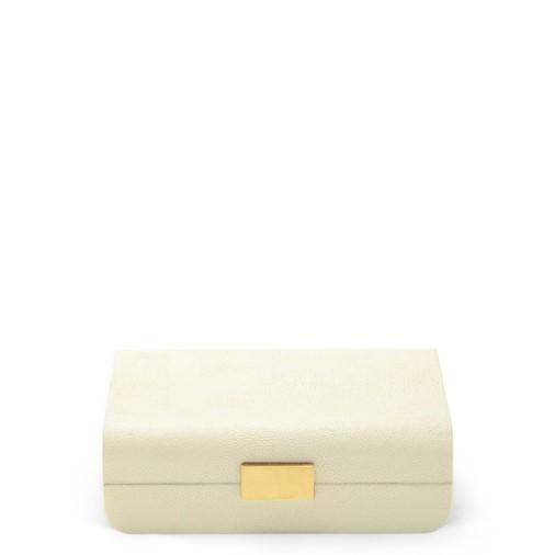 Modern Shagreen Small Jewelry Box (Cream)