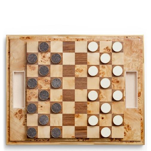 Shagreen Checkers Set (Cream)