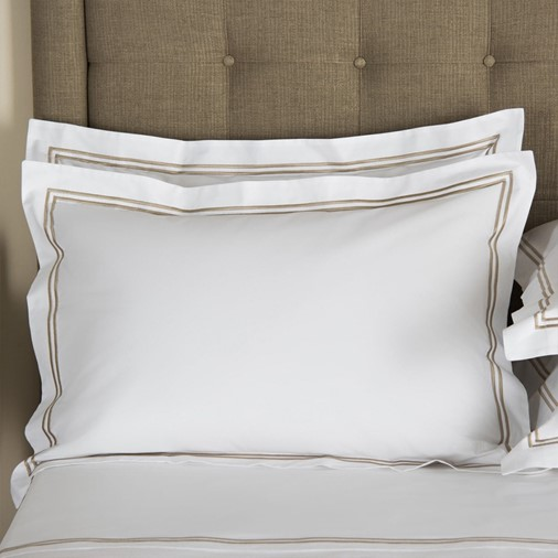 Hotel Classic Sham (White/Khaki)