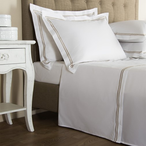 Hotel Classic Sheet Set - Queen (White/Khaki)