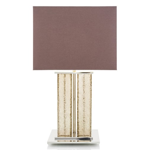 Crystal Table Lamp w/ Cotton Shade